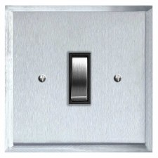 Mode Rocker Light Switch 1 Gang Satin Chrome & Black Trim