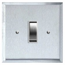 Mode Rocker Light Switch 1 Gang Satin Chrome & White Trim