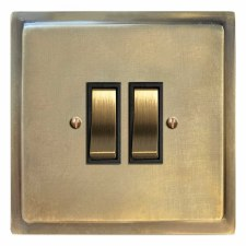 Mode Rocker Light Switch 2 Gang Antique Satin Brass