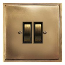 Mode Rocker Light Switch 2 Gang Hand Aged Brass