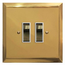 Mode Rocker Light Switch 2 Gang Polished Brass Lacquered & White Trim