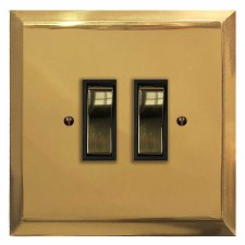 Mode Rocker Light Switch 2 Gang Polished Brass Unlacquered
