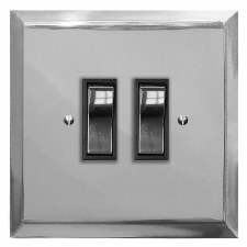 Mode Rocker Light Switch 2 Gang Polished Chrome & Black Trim