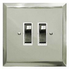 Mode Rocker Light Switch 2 Gang Polished Nickel