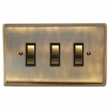 Mode Rocker Light Switch 3 Gang Antique Brass Lacquered