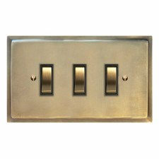 Mode Rocker Light Switch 3 Gang Antique Satin Brass
