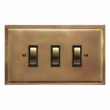 Mode Rocker Light Switch 3 Gang Hand Aged Brass