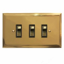 Mode Rocker Light Switch 3 Gang Polished Brass Lacquered & Black Trim