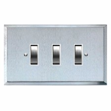 Mode Rocker Light Switch 3 Gang Satin Chrome & White Trim
