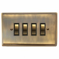Mode Rocker Light Switch 4 Gang Antique Brass Lacquered
