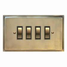 Mode Rocker Light Switch 4 Gang Antique Satin Brass