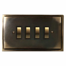 Mode Rocker Light Switch 4 Gang Dark Antique Relief
