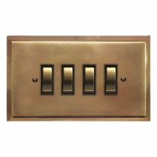 Mode Rocker Light Switch 4 Gang Hand Aged Brass