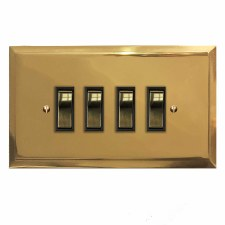 Mode Rocker Light Switch 4 Gang Polished Brass Unlacquered