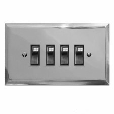 Mode Rocker Light Switch 4 Gang Polished Chrome & Black Trim