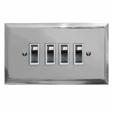 Mode Rocker Light Switch 4 Gang Polished Chrome & White Trim
