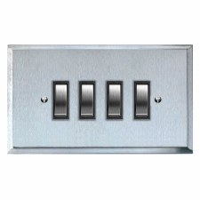 Mode Rocker Light Switch 4 Gang Satin Chrome & Black Trim
