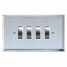 Mode Rocker Light Switch 4 Gang Satin Chrome & White Trim