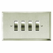 Mode Rocker Light Switch 4 Gang Satin Nickel