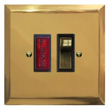 Mode Switched Fused Spur Illuminated Polished Brass Lacquered & Black Trim