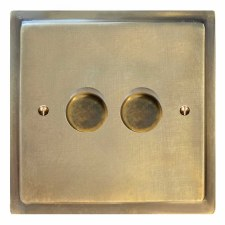 Mode Dimmer Switch 2 Gang Antique Satin Brass