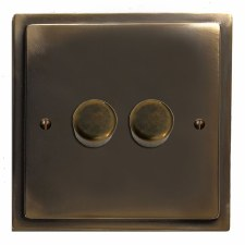 Mode Dimmer Switch 2 Gang Dark Antique Relief