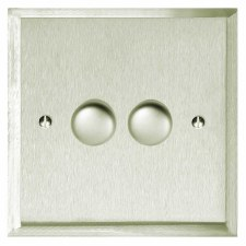 Mode Dimmer Switch 2 Gang Satin Nickel