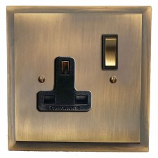 Mode Switched Socket 1 Gang Antique Brass Lacquered