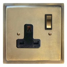 Mode Switched Socket 1 Gang Antique Satin Brass