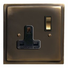 Mode Switched Socket 1 Gang Dark Antique Relief