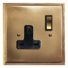 Mode Switched Socket 1 Gang Hand Aged Brass