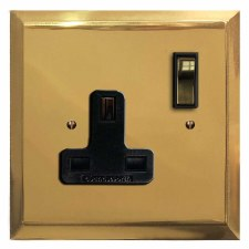 Mode Switched Socket 1 Gang Polished Brass Lacquered & Black Trim