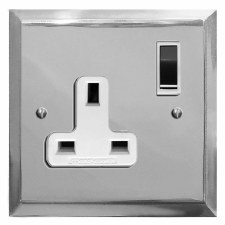 Mode Switched Socket 1 Gang Polished Chrome & White Trim