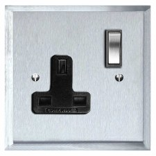 Mode Switched Socket 1 Gang Satin Chrome & Black Trim