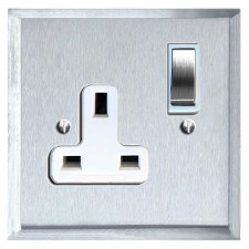 Mode Switched Socket 1 Gang Satin Chrome & White Trim