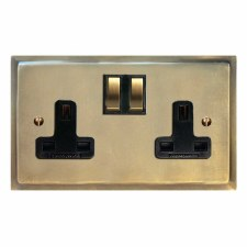 Mode Switched Socket 2 Gang Antique Satin Brass