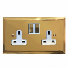 Mode Switched Socket 2 Gang Polished Brass Lacquered & White Trim