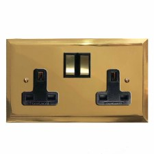 Mode Switched Socket 2 Gang Polished Brass Lacquered & Black Trim
