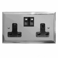 Mode Switched Socket 2 Gang Polished Chrome & Black Trim