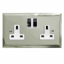 Mode Switched Socket 2 Gang Polished Nickel