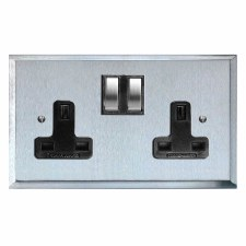 Mode Switched Socket 2 Gang Satin Chrome & Black Trim