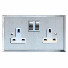 Mode Switched Socket 2 Gang Satin Chrome & White Trim