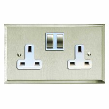 Mode Switched Socket 2 Gang Satin Nickel