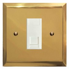 Mode Telephone Socket Secondary Polished Brass Lacquered & White Trim