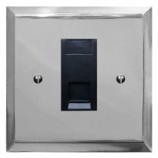 Mode Telephone Socket Secondary Polished Chrome & Black Trim