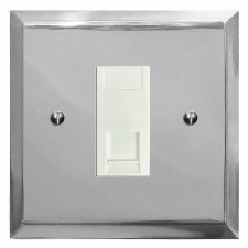 Mode Telephone Socket Secondary Polished Chrome & White Trim