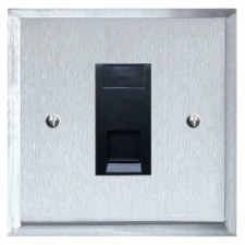 Mode Telephone Socket Secondary Satin Chrome & Black Trim