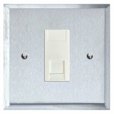 Mode Telephone Socket Secondary Satin Chrome & White Trim