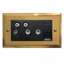 Mode Sky+ Socket Polished Brass Lacquered & Black Trim