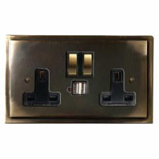 Mode Switched Socket 2 Gang USB Dark Antique Relief
